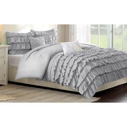 Itelligent Design Waterfall Grey Comforter Set
