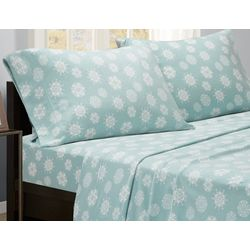 True North Blue Snowflake Micro Fleece Sheet Set