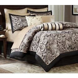Madison Park Aubrey Black 12-pc. Comforter Set