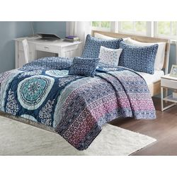 Intelligent Design Loretta Navy Coverlet Set