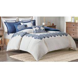 Madison Park Indigo Sky Faux Linen Comforter Set