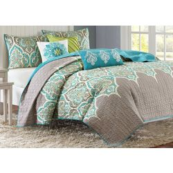 Madison Park Nisha Teal 6-pc. Coverlet Set