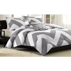 Mi Zone Libra Grey & White Comforter Set