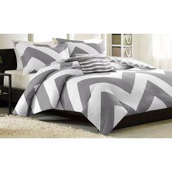 Mi Zone Libra Grey & White Duvet Cover Set
