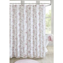 Madison Park Idalia Floral Print Embellished Shower Curtain