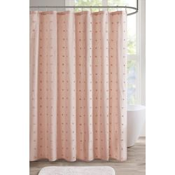 Urban Habitat Brooklyn Jacquard Pom Pom Shower Curtain