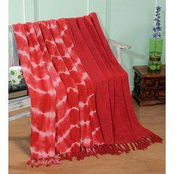 Intrade Global Red Kapphan Cotton Slub Throw Set