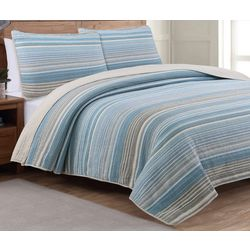 Estate Collection Taj Ice Blue Reversible Quilt Set