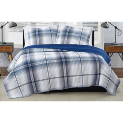 London Fog Nolan Houndstooth Stripe Quilt Set