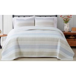 Cottage Classics Spa Stripe Quilt Set