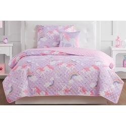 Kids Rainbow Unicorn Quilt Set