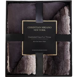 Christian Siriano NY Ombre Black Faux Fur Throw