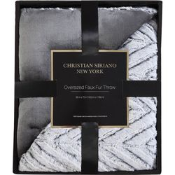 Christian Siriano NY Chevron Grey Faux Fur Throw