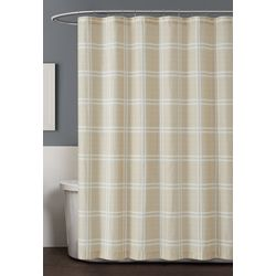 Truly Soft Leon Plaid Grey Shower Curtain