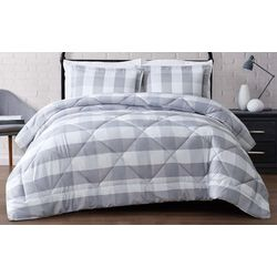 Truly Soft Everyday Grey Buffalo Plaid Comforter Set