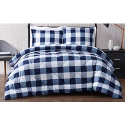 Truly Soft Everyday Navy Buffalo Plaid Comforter Set