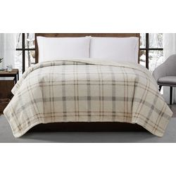 London Fog Popcorn Plaid Plush Blanket