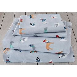 London Fog Winter Dogs Cotton Flannel Sheet Set