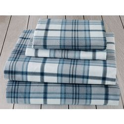 London Fog Blue Plaid Cotton Flannel Sheet Set