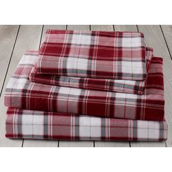 London Fog Red Plaid Cotton Flannel Sheet Set