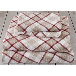 London Fog Tan Plaid Cotton Flannel Sheet Set