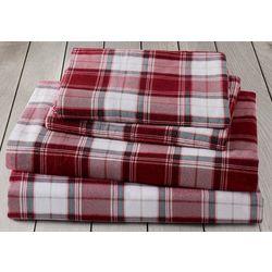 London Fog Red Plaid Cotton Flannel Sheet Set