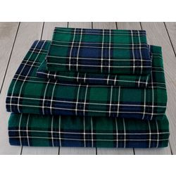 London Fog Black Watch Plaid Cotton Flannel Sheet Set
