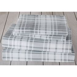 London Fog Grey Plaid Cotton Flannel Sheet Set