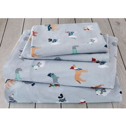 London Fog Winter Dogs Cotton Flannel Sheet Set