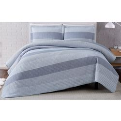 Truly Soft Grey Multi Stripe Quilt Set