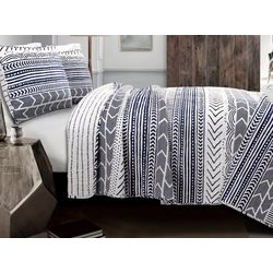 Triangle Home Fashions Hygee Geo Navy/White Quilt Set