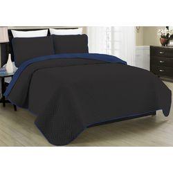 Morgan Home Fashions Allison Black Reversible Quilt Set