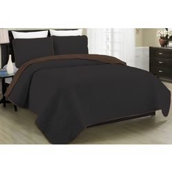 Morgan Home Fashions Allison Black Reversible Quilt Set