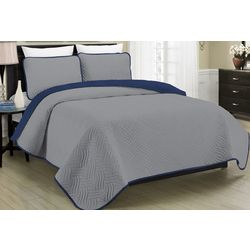 Morgan Home Fashions Allison Grey Reversible Quilt Set
