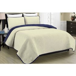 Morgan Home Fashions Allison Cream Reversible Quilt Set