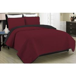 Morgan Home Fashions Allison Burgundy Reversible Quilt Set