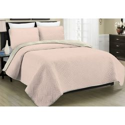 Morgan Home Allison Pink Reversible Quilt Set