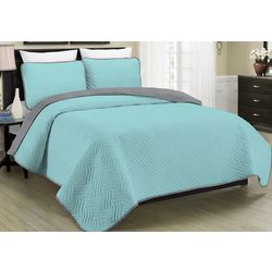 Morgan Home Allison Teal Reversible Quilt Set