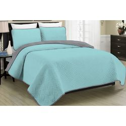 Morgan Home Fashions Allison Teal Reversible Quilt Set