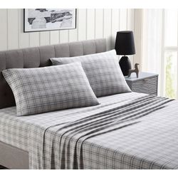 Morgan Home Fashions Ultra Plush Grey Plaid Fleece Sheet Set