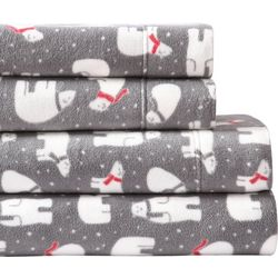Morgan Home Fashions Ultra Plush Polar Bear Fleece Sheet Set