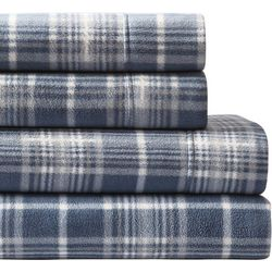 Morgan Home Fashions Ultra Plush Blue Plaid Fleece Sheet Set