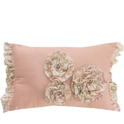 Morgan Home Meadow Floral Ruffled Pink Pillow