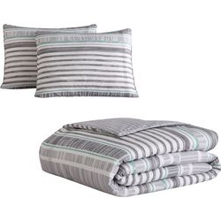 Morgan Home Harvey Grey Striped Comforter Set