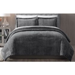 Morgan Home Grey Faux Fur Bell 3-piece Comforter