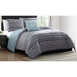 Morgan Home Danika Blue & Grey Geometric Print Comforter Set