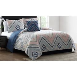 Morgan Home Sarah Blue and Pink Tribal Print Comforter Set