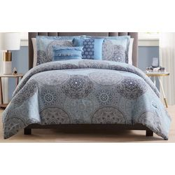 Morgan Home Samuel Reversible Blue Medallion 5-pc. Comforter