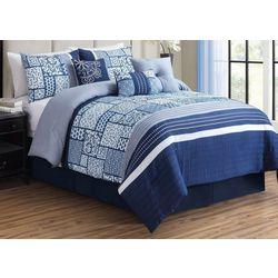 Morgan Home Savannah Blue Patchwork 7-pc Comforter Set
