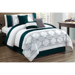 Morgan Home Charlotte Teal Medallion 7-pc. Comforter Set